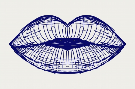 Woman lip mouth kiss  Doodle style Stock Vector - 16907878