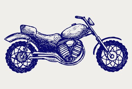 Classic Motorcycle  Doodle style Vector