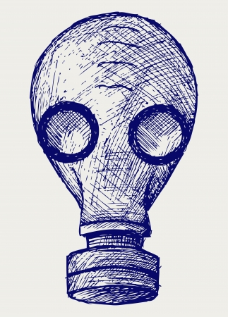 gas masks: Gas mask  Doodle style