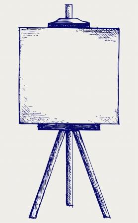 exposition art: Chevalet avec toile vide. Le style Doodle Illustration