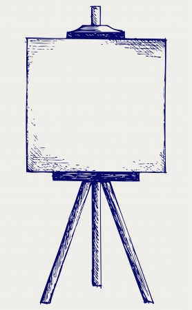 exhibition: Easel with empty canvas. Doodle style