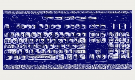 Modern computer keyboard. Doodle style Stock Vector - 16907912