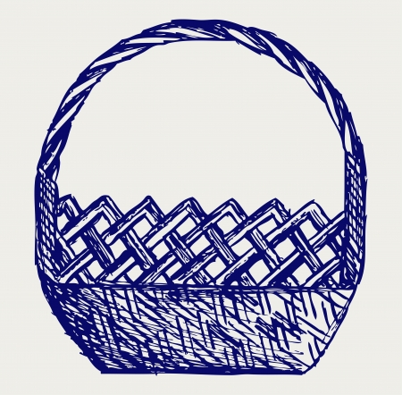 Empty wicker basket. Doodle style Vector