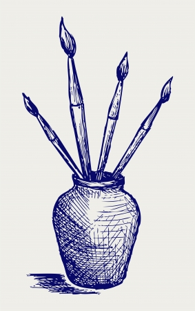 daubs: Brushes in vase. Doodle style