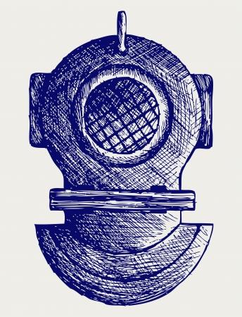 Old diving helmet. Doodle style Stock Vector - 16907913