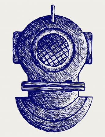 Old diving helmet. Doodle style