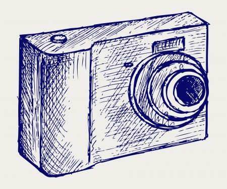 camera illustration. Doodle style Vector