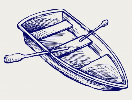 rowing boat: Wooden boat with paddles. Doodle style
