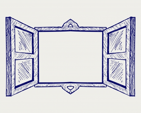 Wooden window. Doodle style Illustration