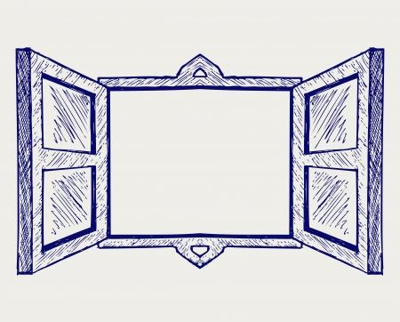 Wooden window. Doodle style Çizim