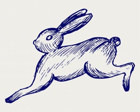 furry animals: Running hare. Doodle style