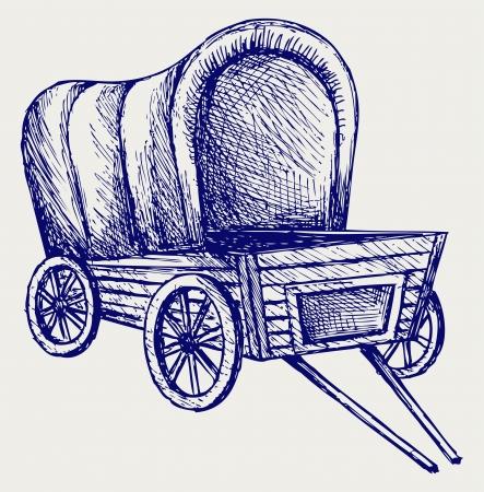Vintage van to transport. Doodle style Stock Vector - 16907909