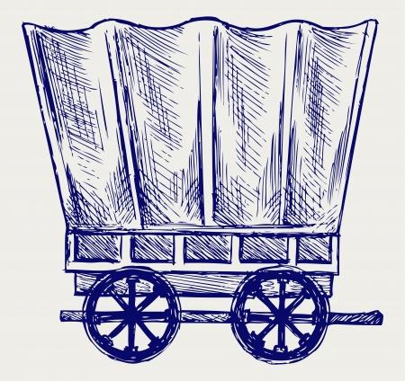 carreta madera: Vintage van a transportar. Estilo Doodle