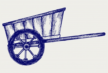 wagon wheel: Vintage van to transport. Doodle style