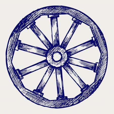 Wooden wheel. Doodle style Vector