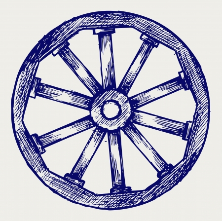 carriage: Wooden wheel. Doodle style
