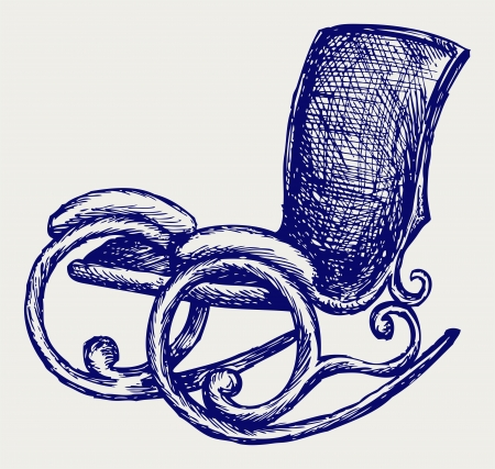 Rocking chair. Doodle style Vector