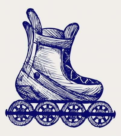 zapatos caricatura: Inline skate. Estilo Doodle