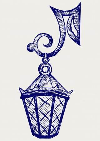 scratchy: Lantern from the forged metal. Doodle style