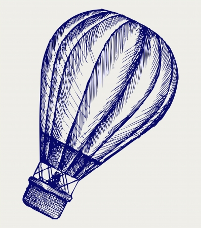 hot line: Hot air balloon. Doodle style