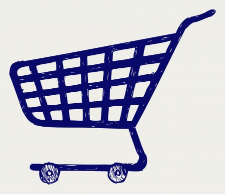 Shopping supermarket cart. Doodle style Vector