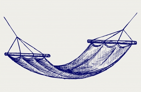 hammock: Hammock. Suspension device for the rest. Doodle style Illustration