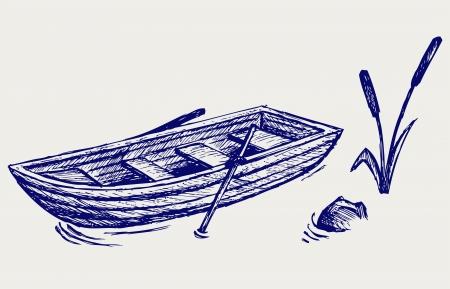 Barco de madera con remos. Estilo Doodle
