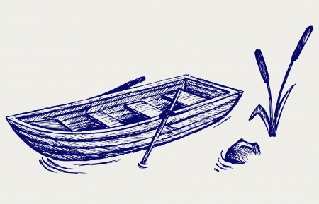 barque: Wooden boat with paddles. Doodle style