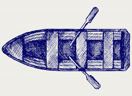 row boat: Wooden boat with paddles. Doodle style