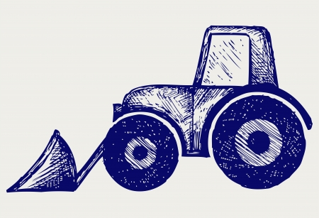 agronomics: Tractor. Doodle style Illustration