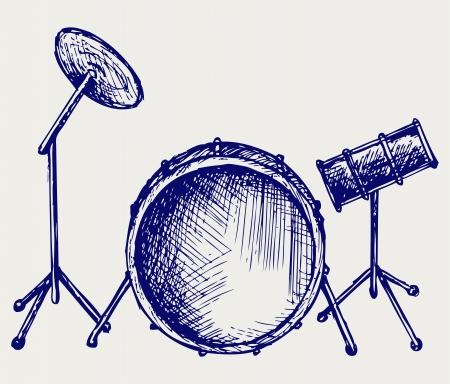 Drum set. Doodle style Vector