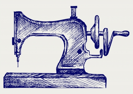 Old sewing machine. Doodle style Vector