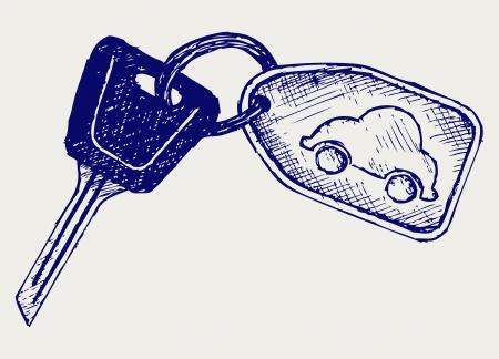 Car keys. Doodle style Çizim