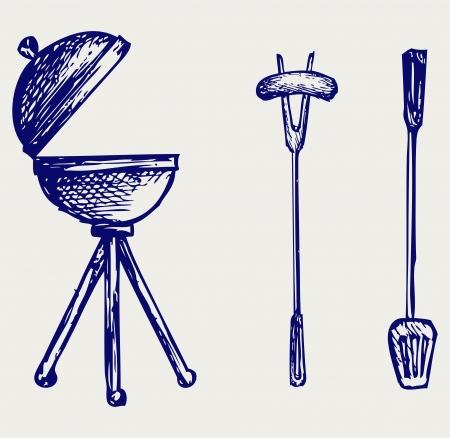 Set of bbq objects. Doodle style Çizim