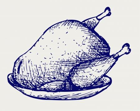 pollos asados: Pollo frito. Estilo Doodle