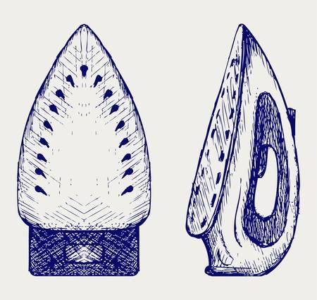 plancha de vapor: Plancha de vapor. Estilo Doodle Vectores