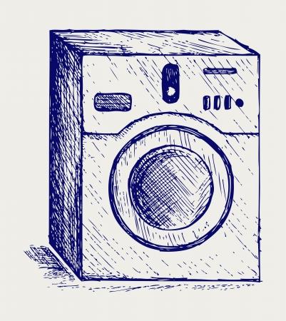 washer machine: Washing machine. Doodle style Illustration