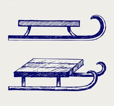 trineo: Trineo de madera. Estilo Doodle