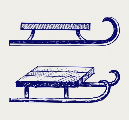 toboggan: Wooden sled. Doodle style Illustration