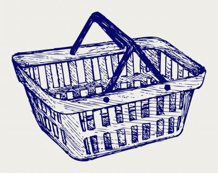 Plastic basket. Doodle style Stock Vector - 17057386