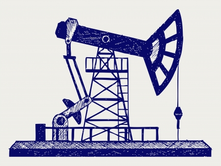 derrick: Concept of oil industry. Doodle style