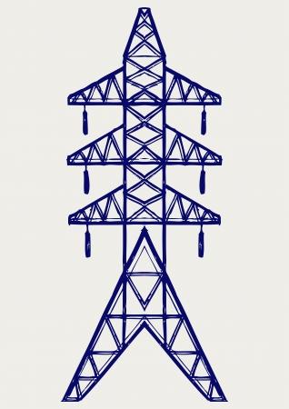 torres de alta tension: Poste eléctrico. Estilo Doodle Vectores