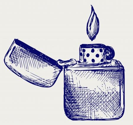 lighter: Flaming lighter. Doodle style Illustration
