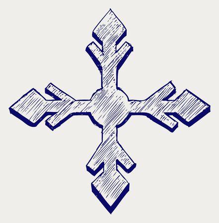 xmas linework: Snowflake winter. Doodle style