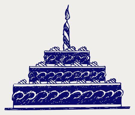 fairycake: Cute cake. Doodle style Illustration