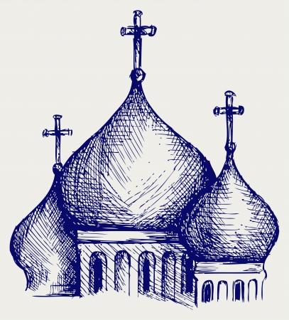 kopule: Baňatý kopule pravoslavného katedrálního chrámu. Doodle styl
