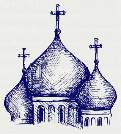 cupola: The bulbous domes of orthodox cathedral temple. Doodle style