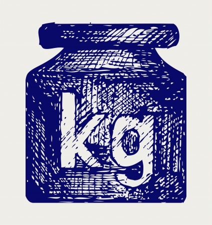 gram: Weight kilogram. Doodle style Illustration