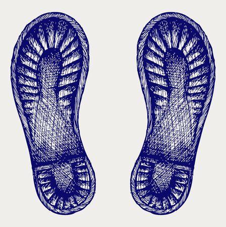zapatos caricatura: Botas Trail estilo Doodle Vectores
