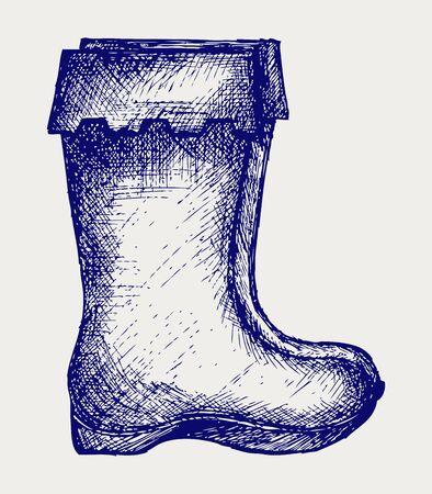 rubberboots: Gummistiefel Doodle Stil Illustration